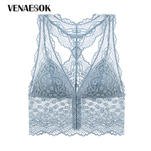 Buy 2018 New Front Closure Bra Embroidery Flowers Brassiere Plus Size XL L M S Bra Women Blue Lace Lingerie Black Sexy Underwear