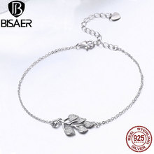 Buy BISAER Authentic 925 Sterling Silver Femme Chain Bracelet Tree Leaves Leaf Women Bracelets Silver 925 Original Jewelry ECB074 for $10.59 in AliExpress store