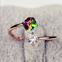 R287 Fashion Jewelry Adjustable Finger Rings Rose  Wedding Engagement Ring Colorful Fancy Stone High Quality