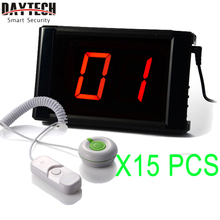 DAYTECH Wireless Calling System Emergency Nurse Calling Bell Hospital Pager 1PCS LCD Display 15PCS Waterproof Call Buttons()