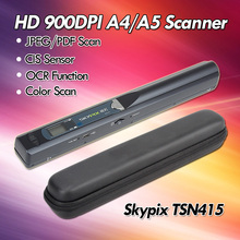 Skypix TSN415 HD 900x900DPI Portable Scanner A4 Document Scanner Handheld CIS USB A4/A5 Image Paper Scanner JPG/PDF W/Hard Bag