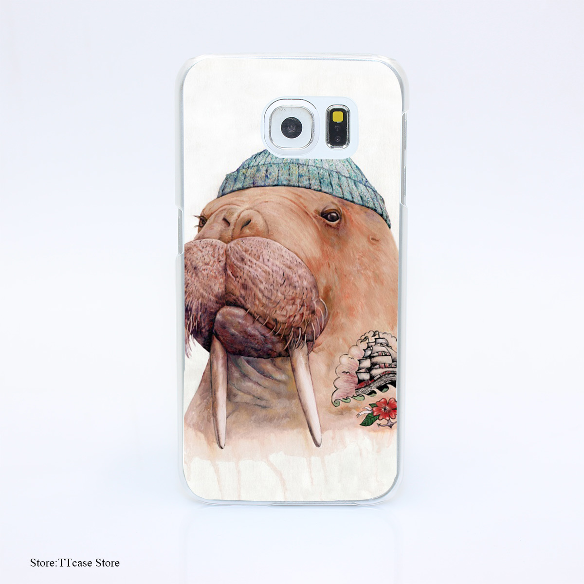 3281G Tattooed Walrus Print Hard Transparent font b Case b font Cover for Galaxy S3 S4