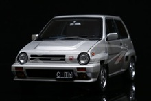 Diecast Car Model AUTOART 1:18 Honda CITY TURBO II (Silver) with MOTOCOMPO (Yellow)+GIFT