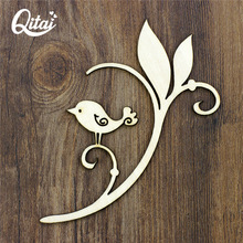 QITAI 12 Pieces/lot New DIY Products Flowers Wreath Wooden Veneer Shape Scrapbooking Embellishment Craft Products WF026(China)