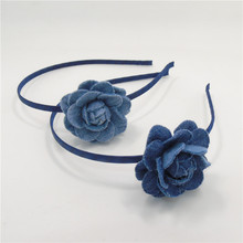 10pcs/lot 5cm Denim Blue Flower Bloom Hairband Dark Blue Rose Alice Band Floral Hairpin Rosette Barrette School Camille Headband