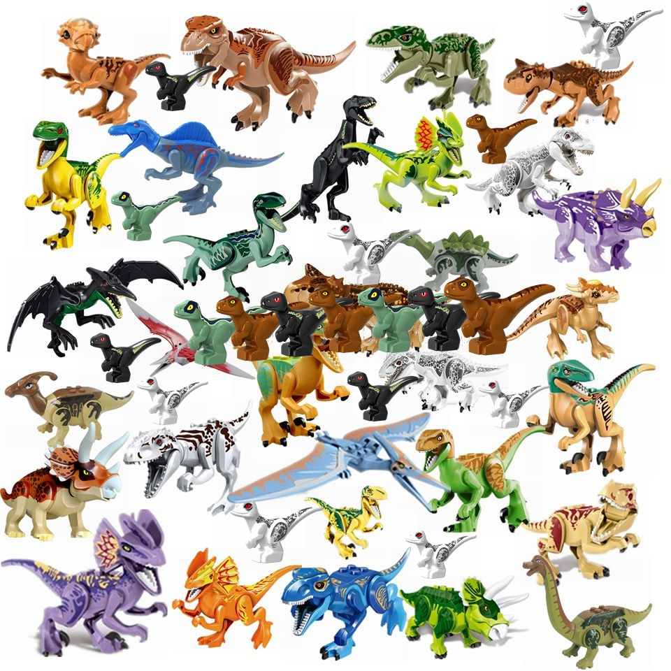 Animals Jurassic Dinosaurs World Park Dinosaur Velociraptor Tyrannosaurus Rex Baby Figure Building Blocks Toys With Animal L1228