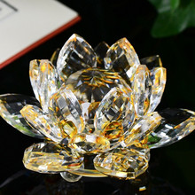 Lotus Crystal Glass Figure Paperweight Ornament Feng Shui Decor Collection Figurines Home Wedding Party Decor Gifts Souvenir