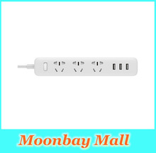 2016 new 100% Original xiaomi power strip fast charging 3 sockets USB Extension Socket Plug with Socket Standard Socket material