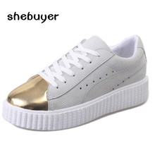 2017 Spring Autumn Women Casual Shoes Lace Up Creeper Shoes Woman Glitter Bling Flats Breathable Leisure Shoe Lady Gold  8911-28