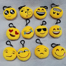 SHUANGR Multi-Expressions Key Chains Cell Phone Handbag Charm Key Chains Pendant Cartoon Face 55mm Diameter(China)