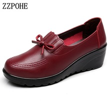ZZPOHE Spring Autumn Women Pumps Woman Fashion Leather Slip On High Heels Platform Shoes Ladies Casual Comfortable Single Shoes(China)