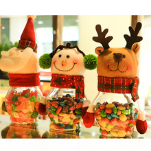 Christmas Decorations Cute Santa Claus Elk Snowman Candy Jars Container Christmas Ornaments Kids Gifts Holiday Party Table Decor