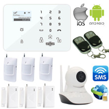 Free Shipping Wireless Android/IOS APP Support GSM Alarm System +3G/GSM Camera SMS Wifi IP Camera Home Safety Burglar Alarm W12I