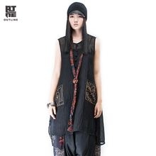 Outline Summer Women Tank Dress Black Sleeveless Medium-long Pocket Chinese Frog Plus Size Cotton Linen O-neck Dresses L162Y003
