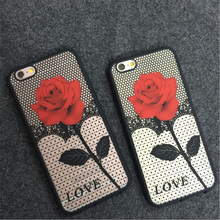 Rose Retro Flowers Phone Cases For iPhone 5 5S SE 6 6S Plus 7 7Plus Phone Back Case Cover Hard PC + Soft Side Fashion Phonecase