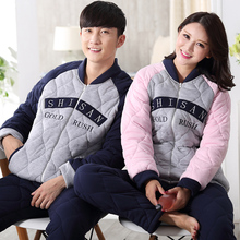 Free Shipping New Winter Thick Warm Flannel Couple Pajama Sets Long Sleeve Cardign Soft Solid Coral Fleece Pajamas For Lovers(China)