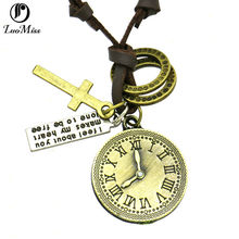 Watches and clocks Leather Necklace Jewelry For Women men,Vintage Antique Bronze Necklaces Cross Circle Pendants Jewelry(China)