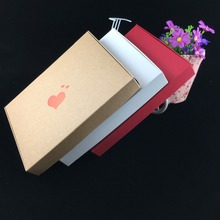 12pcs/lot 20x15x2.5cm Handle Hole Kraft Paper Box Packaging Folding Paper Boxes Craft Bag with Clear Window(China)