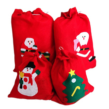 Hot Santa Claus Gift Bag Christmas Gifts Sack Christmas Tree Decor Candy Red Present Kids Toy Snowman Reindeer Candy Bag(China)