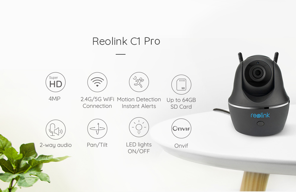 Reolink Baby Monitor Wifi Camera C1 Pro Surveillance Indoor Home