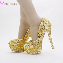 Gold Bridal Shoes Lace Glitter Formal Dress Shoes Stiletto Heel Handmade 14cm Heels Women Evening Party Bridesmaid Pumps(China)