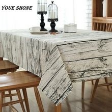 Youe shone Vintage Table Cloth Linen Rectangular Table Cloth Wooden Grain Dustproof Bar Coffee Table Cover European Stlye