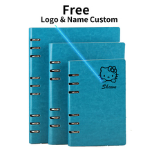 A5 Logo Name Custom Leather Notebook Writing Pads Binder Loose leaf Diary Office School Mini A6 PU Leather Notepad with Rings(China)