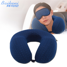 U Shape Neck Pillow Memory Foam Travel Pillow Neck Support For Airplane Plane Soft Slow Rebound Rest Sleeping Cushion Almohada(China)