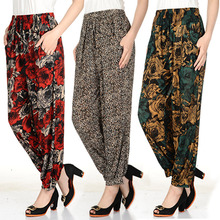 Summer New Arrive Female Thin Ice Silk Slacks And Loose Waist Ankle-Length Pants