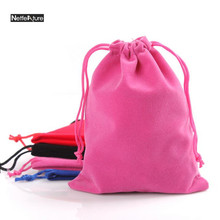 3PCS Free Shipping Small Flannel Bag Jewelry Crystal Gift Pouch  Drawstring Beam Pocket Close Pocket Phone Storage Bag Organizer