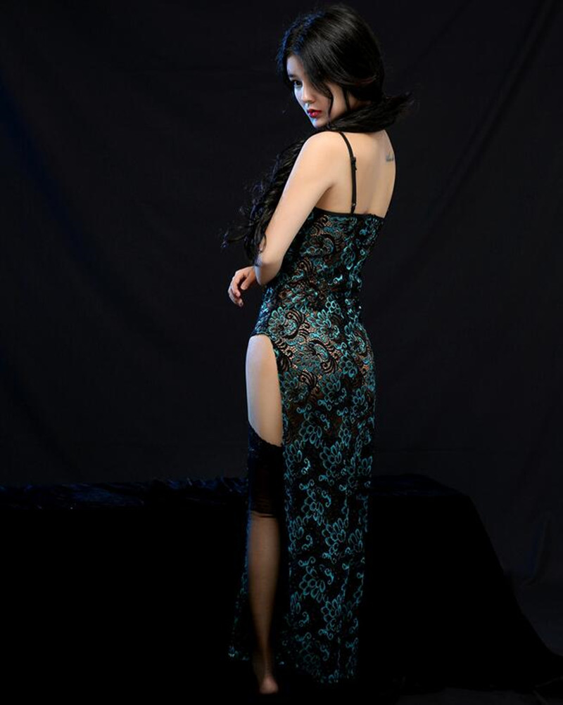 E530 Sexy Night Dress For Ladies Night Club Dresses Lace Lingerie Long Embroidery Erotic Club Dress Sexy Costumes Peacock Green