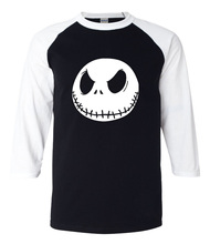 2017 summer men t shirt Nightmare Before Christmas Jack Skellington 3/4 sleeve tshirt cotton high quality raglan tee shirt men(China)