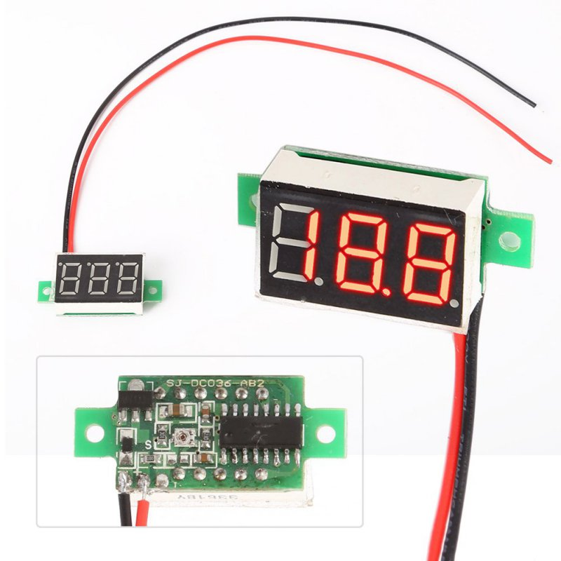 1 pc DC 4~30V Mini Red LED Panel Voltage Meter Digital Adjustment Voltmeter New Arrival 2 L