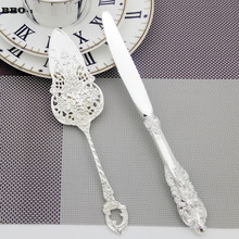 New 2pcs Silver Cake Server knife set Wedding Cake Knife Shovel set Birthday Party Wedding Knife Server Set Dessert Cake knife