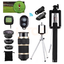 2017 15in1 8x Zoom Telephoto Lentes Fisheye Wide Angle Macro Lenses Tripod Clips Selfie Flash Light For Cell Phone Camera Lens
