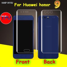 "Front/Back Full Coverage Clear Soft TPU Film Screen Protector For Huawei Honor 9 5.2"" , Cover Curved Parts (Not Tempered Glass)"