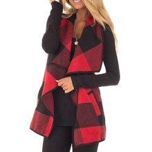 Herfst Womens Vest Plaid Mouwloze Revers Open Vest Sherpa Jas Zakken Jas(China)