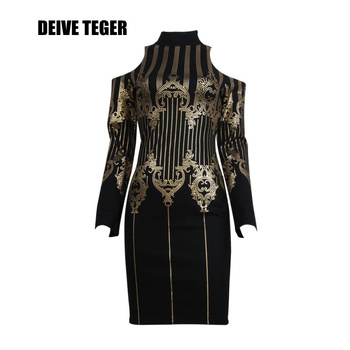 DEIVE TEGER woman Newest sexy 2017 spring Gilding mini O-Neck Spandex Elastic Sheath off the shoulder Women vestidos Dress BY073