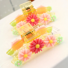 New Vertical Long Hair Crab Hair Claws Daisy Flower Banana Clips Hair Accessories for Women Barrette Plastic Teeth Krabyk 2016