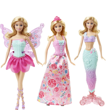 Original Barbie Doll Toy Barbie Fairytale Mermaid Dress Up Birthday Toys Gift Set DHC39 Present Girl Toys Gift Boneca For Girl(China)