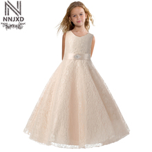 New 2017 Designer Children Teenagers Prom Party Ceremonies Gowns Dresses Girl Sleeveless Lace Dress Vestido Costume For Kids