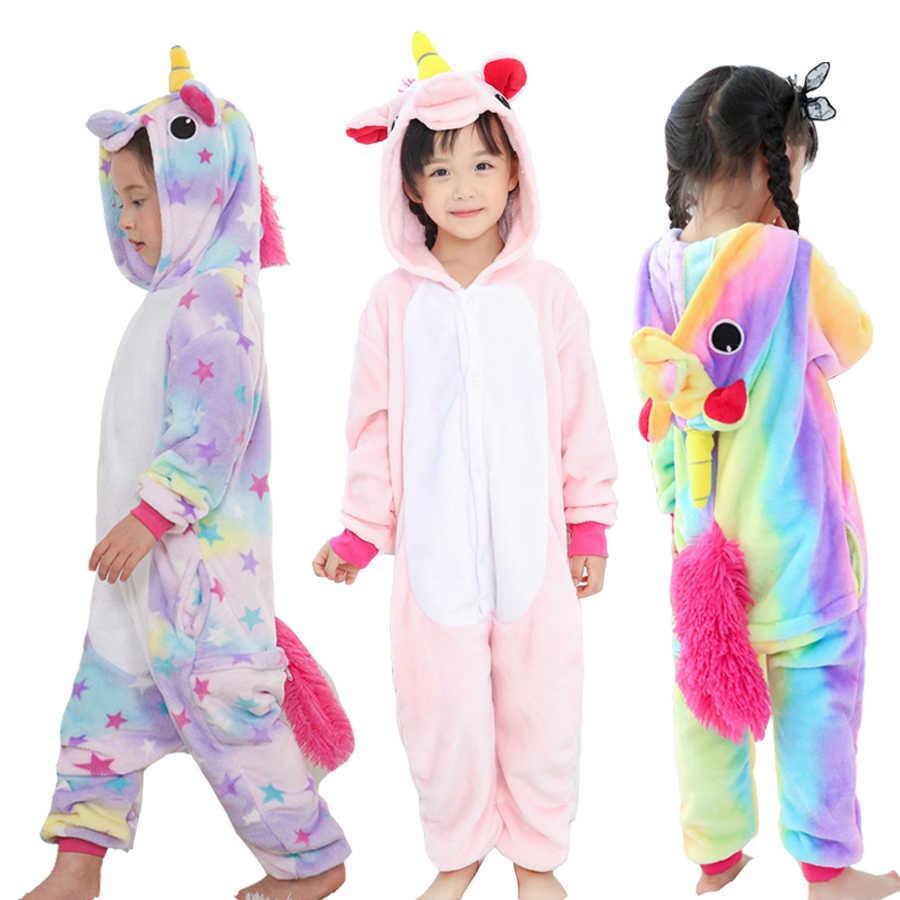 Детская Пижама Единорог животных Пижама для девочек зимняя детская пижама  de 7a6b712570e4d