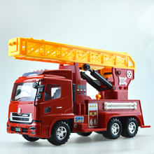1 Pcs Luxurious Exquisite Truck Fire Truck Car Model Sound & Light Scaling Ladder Vehicle Educational Toys Children Gift Box(China)