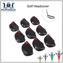 Iron Headcover 9 Pcs-lot Golf Club Head Covers With Plastic Rope Golf Protection Set Black Golf Accessories