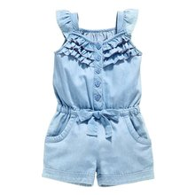 0-5 Years Toddlers Girls One-Piece Rompers Shorts Washed Jeans Jumpsuit Playsuit(China)