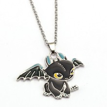 How To Train Your Dragon 2 Toothless Night Fury Necklace Anime Necklaces Metal Charm Pendant Cosplay Accessories Jewelry Gift