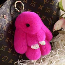 AOJUN Bunny Keychain Magic World Real Rabbit Fur Key Chain Trinket Women Toy Doll Pom Pom Key Ring For Bag Car Jewelry Gift