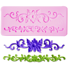 M439  European Flower Relief  Silicone Molds Fondant Cake Chocolate Mold Kitchen Baking Cake Border Decoration  11.2*5*0.5cm