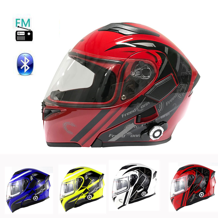 2017 New Motorbike Bluetooth Flip Up Helmet Motorcycle Built in Intercom FM System Support 8 Riders Intercom DOT Standard Casque(China (Mainland))