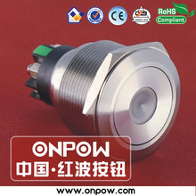 ONPOW 25mm stainless steel momentary dot illuminated pushbutton switch with screw terminal GQ25-L-11D/S